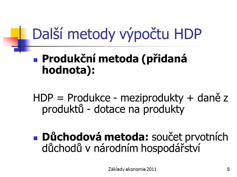 Základy ekonomie 20118 Další metody výpočtu HDP Produkční metoda (přidaná hodnota): HDP = Produkce - meziprodukty + daně z produktů - dotace na produkty Důchodová metoda: součet prvotních důchodů v národním hospodářství
