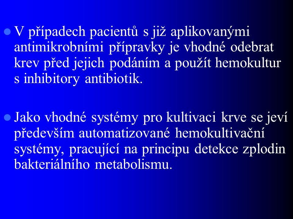 V případech pacientů s již aplikovanými antimikrobními přípravky je vhodné odebrat krev před jejich podáním a použít hemokultur s inhibitory antibioti