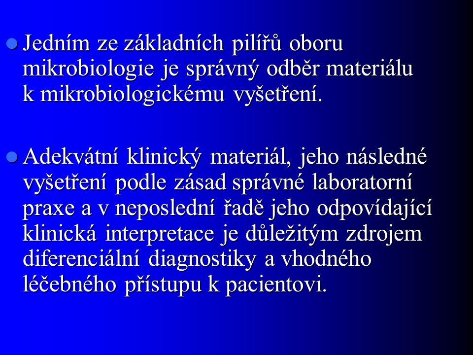 Jedním ze základních pilířů oboru mikrobiologie je správný odběr materiálu k mikrobiologickému vyšetření. Jedním ze základních pilířů oboru mikrobiolo