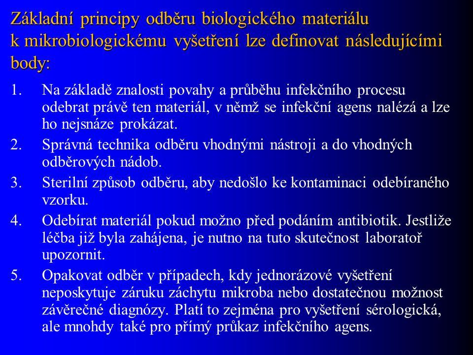 Základní principy odběru biologického materiálu k mikrobiologickému vyšetření lze definovat následujícími body: 1.Na základě znalosti povahy a průběhu