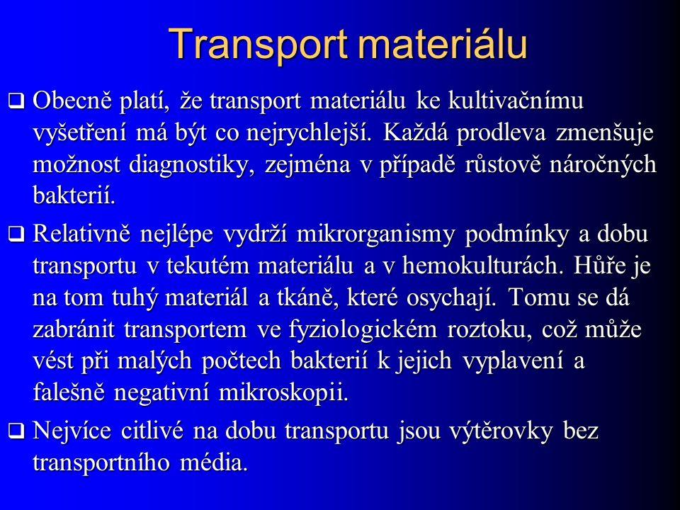 Transport materiálu  Obecně platí, že transport materiálu ke kultivačnímu vyšetření má být co nejrychlejší. Každá prodleva zmenšuje možnost diagnosti