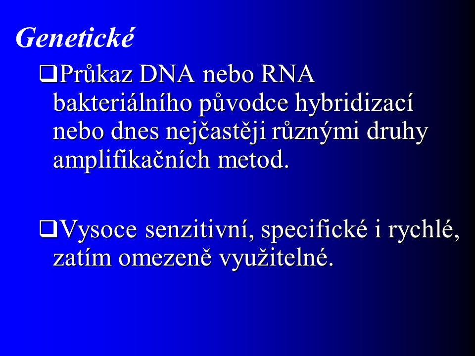 Genetické  Průkaz DNA nebo RNA bakteriálního původce hybridizací nebo dnes nejčastěji různými druhy amplifikačních metod.  Vysoce senzitivní, specif