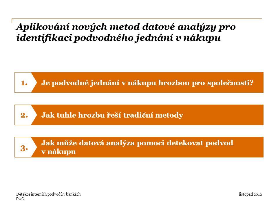 PwC Aplikování nových metod datové analýzy pro identifikaci podvodného jednání v nákupu listopad 2012Detekce interních podvodů v bankách Je podvodné jednání v nákupu hrozbou pro společnosti.