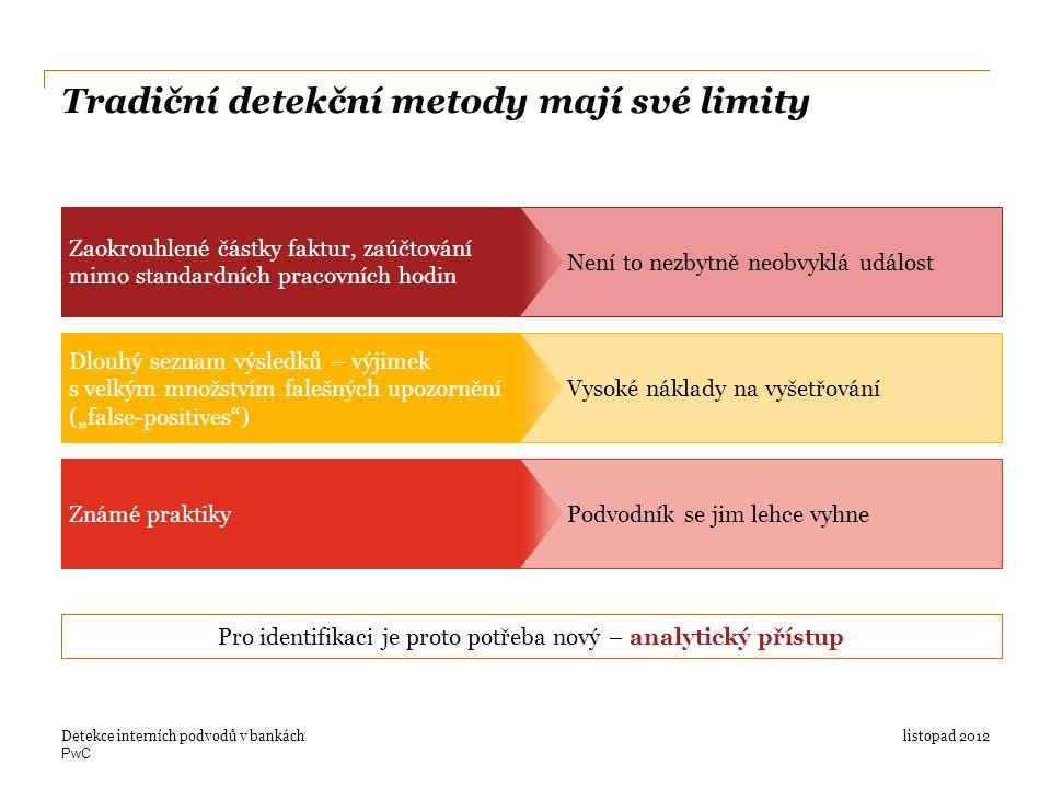 """PwC Tradiční detekční metody mají své limity listopad 2012Detekce interních podvodů v bankách Zaokrouhlené částky faktur, zaúčtování mimo standardních pracovních hodin Není to nezbytně neobvyklá událost Dlouhý seznam výsledků – výjimek s velkým množstvím falešných upozornění (""""false-positives ) Vysoké náklady na vyšetřování Známé praktiky Pro identifikaci je proto potřeba nový – analytický přístup Podvodník se jim lehce vyhne"""