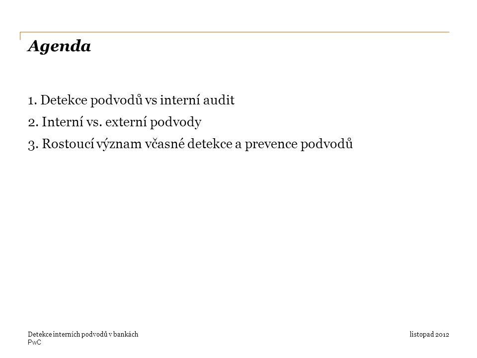 PwC Agenda 1. Detekce podvodů vs interní audit 2.