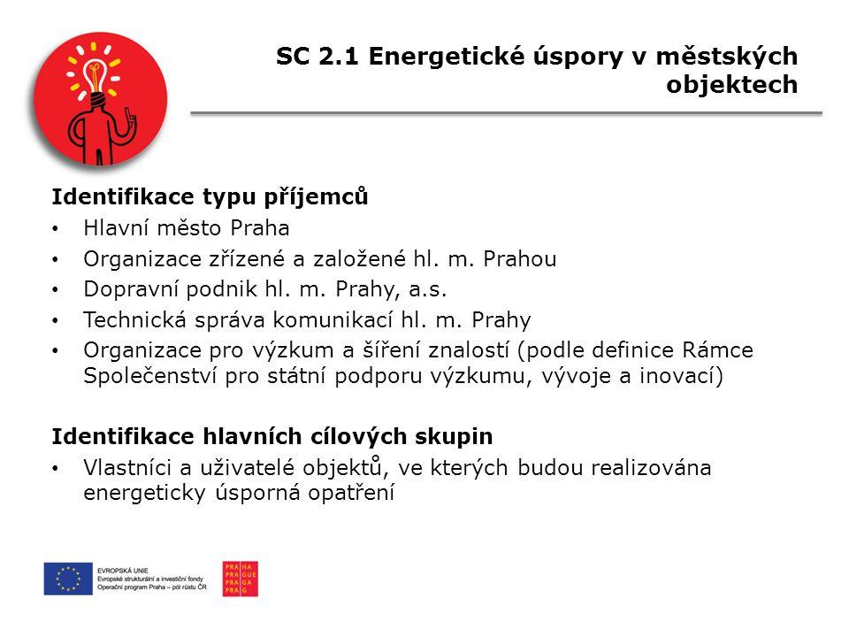 SC 2.1 Energetické úspory v městských objektech Identifikace typu příjemců Hlavní město Praha Organizace zřízené a založené hl.