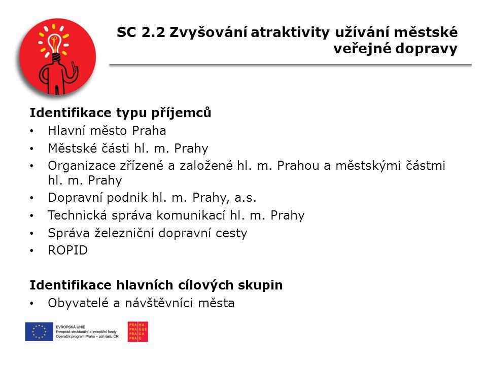 SC 2.2 Zvyšování atraktivity užívání městské veřejné dopravy Identifikace typu příjemců Hlavní město Praha Městské části hl.