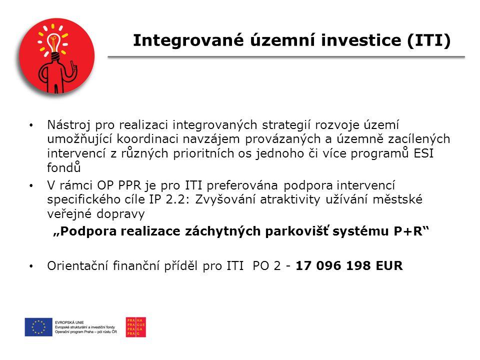 """Integrované územní investice (ITI) Nástroj pro realizaci integrovaných strategií rozvoje území umožňující koordinaci navzájem provázaných a územně zacílených intervencí z různých prioritních os jednoho či více programů ESI fondů V rámci OP PPR je pro ITI preferována podpora intervencí specifického cíle IP 2.2: Zvyšování atraktivity užívání městské veřejné dopravy """"Podpora realizace záchytných parkovišť systému P+R Orientační finanční příděl pro ITI PO 2 - 17 096 198 EUR"""