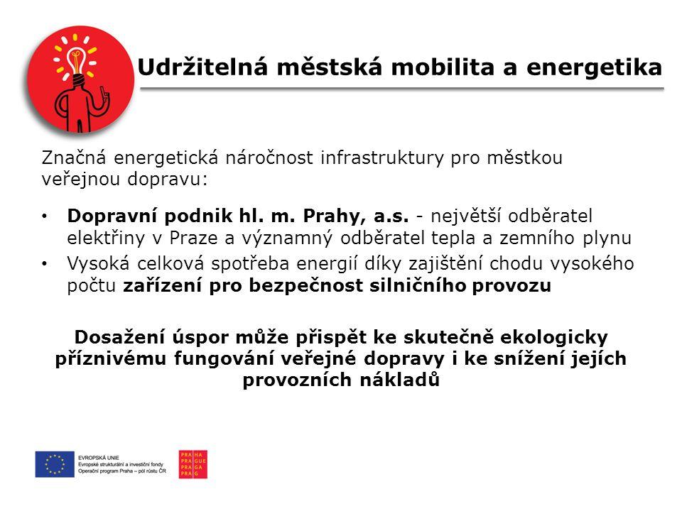 Udržitelná městská mobilita a energetika Značná energetická náročnost infrastruktury pro městkou veřejnou dopravu: Dopravní podnik hl.