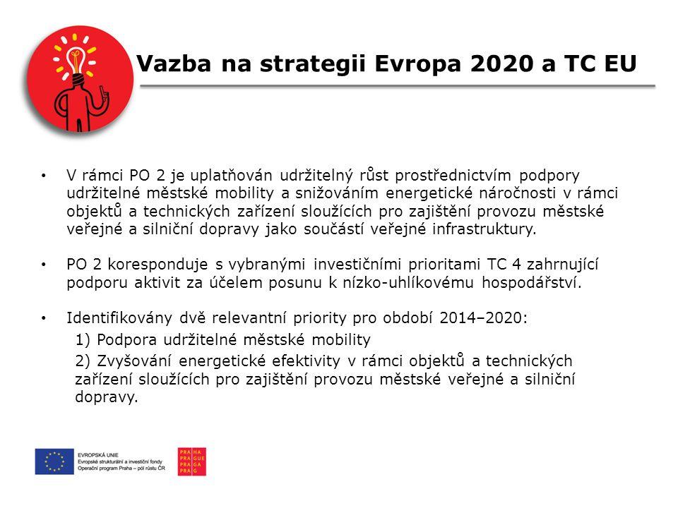 Vazba na strategii Evropa 2020 a TC EU V rámci PO 2 je uplatňován udržitelný růst prostřednictvím podpory udržitelné městské mobility a snižováním energetické náročnosti v rámci objektů a technických zařízení sloužících pro zajištění provozu městské veřejné a silniční dopravy jako součástí veřejné infrastruktury.