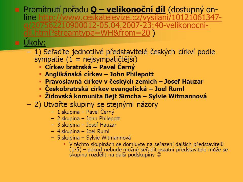 Promítnutí pořadu Q – velikonoční díl (dostupný on- line http://www.ceskatelevize.cz/vysilani/10121061347- q/207562210900012-05.04.2007-23:40-velikono