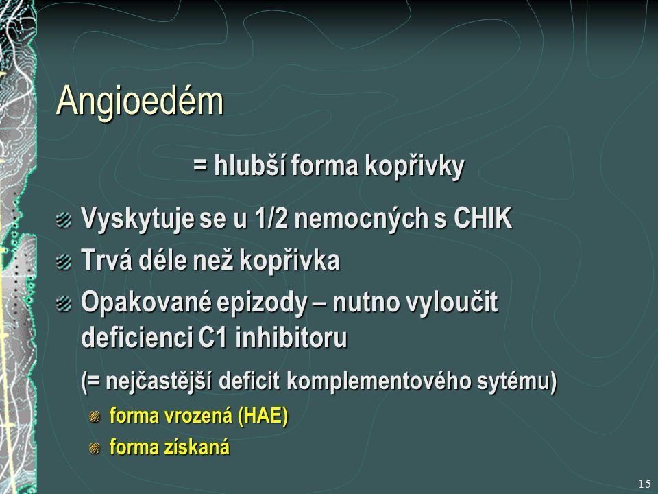 15 Angioedém = hlubší forma kopřivky Vyskytuje se u 1/2 nemocných s CHIK Trvá déle než kopřivka Opakované epizody – nutno vyloučit deficienci C1 inhibitoru (= nejčastější deficit komplementového sytému) forma vrozená (HAE) forma získaná