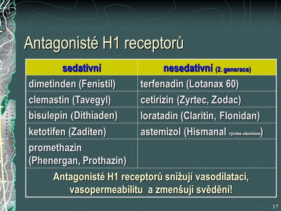 17 Antagonisté H1 receptorů sedativní nesedativní (2.