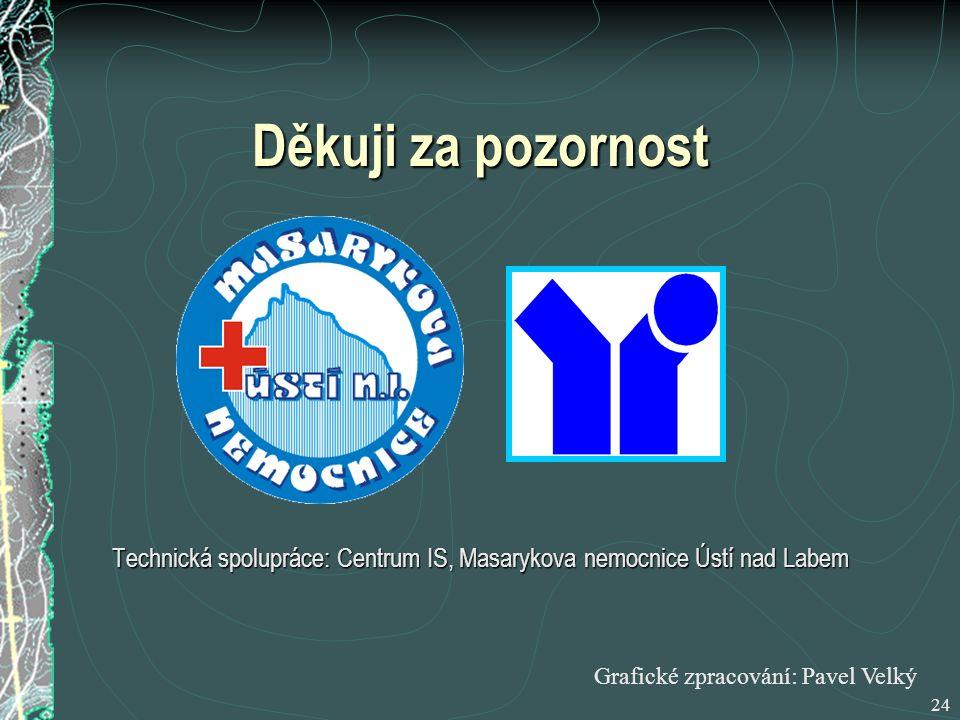 24 Děkuji za pozornost Technická spolupráce: Centrum IS, Masarykova nemocnice Ústí nad Labem Grafické zpracování: Pavel Velký