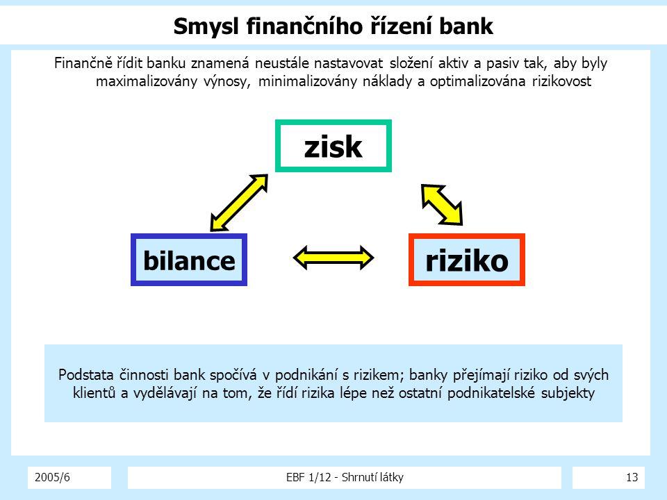 2005/6EBF 1/12 - Shrnutí látky13 Smysl finančního řízení bank Finančně řídit banku znamená neustále nastavovat složení aktiv a pasiv tak, aby byly max