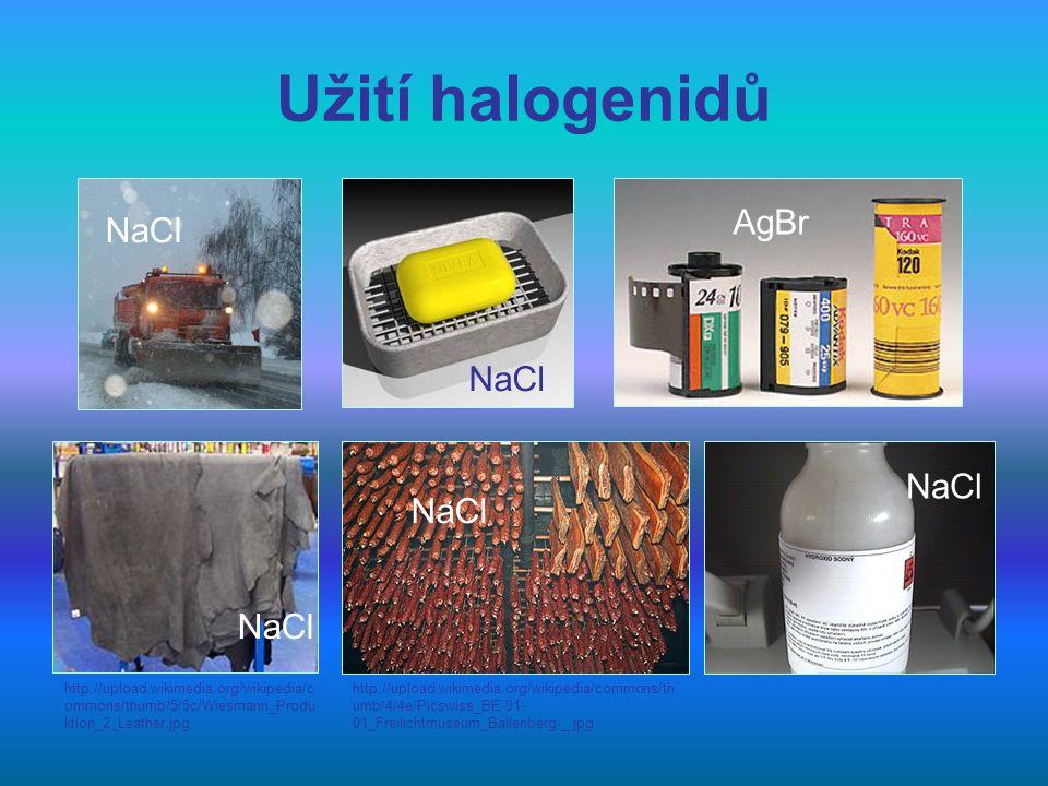 Úkol 7: Podle snímku 9 doplň následující text: Největší použití má NaCl, který se používá k zimní údržbě ……, ke konzervaci …….., při zpracování …., k výrobě chlóru, ……… sodného a při výrobě …....