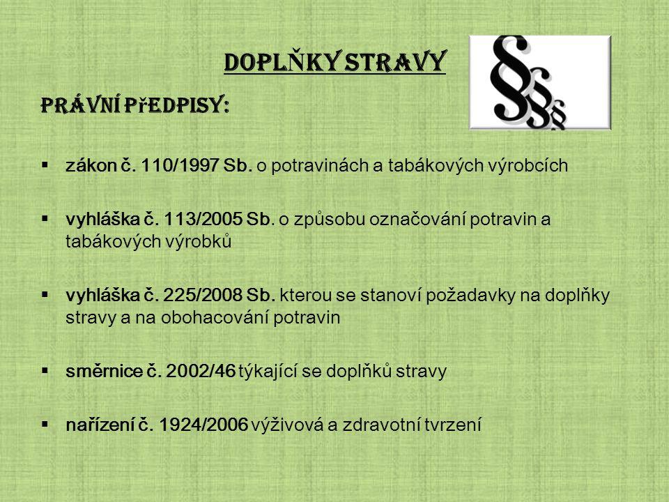 DOPL Ň KY STRAVY Právní p ř edpisy:  zákon č.110/1997 Sb.