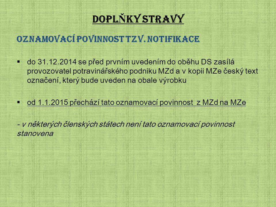 DOPL Ň KY STRAVY Oznamovací povinnost tzv. notifikace  do 31.12.2014 se před prvním uvedením do oběhu DS zasílá provozovatel potravinářského podniku
