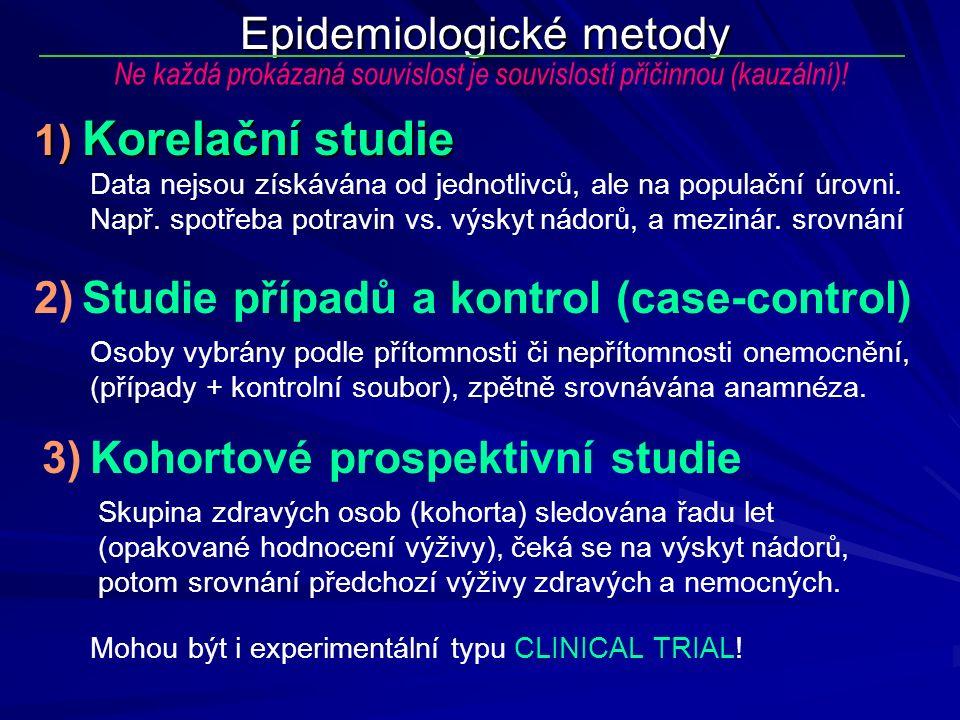 Epidemiologické metody Data nejsou získávána od jednotlivců, ale na populační úrovni. Např. spotřeba potravin vs. výskyt nádorů, a mezinár. srovnání N