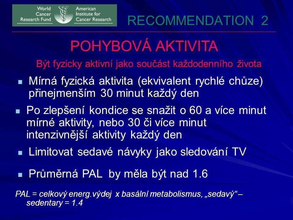 RECOMMENDATION 2 POHYBOVÁ AKTIVITA Být fyzicky aktivní jako součást každodenního života Mírná fyzická aktivita (ekvivalent rychlé chůze) přinejmenším