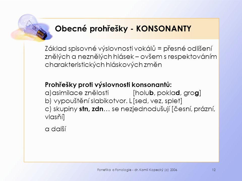 Fonetika a Fonologie - dr. Kamil Kopecký (c) 200612 Obecné prohřešky - KONSONANTY Základ spisovné výslovnosti vokálů = přesné odlišení znělých a nezně