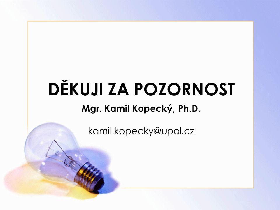 DĚKUJI ZA POZORNOST Mgr. Kamil Kopecký, Ph.D. kamil.kopecky@upol.cz
