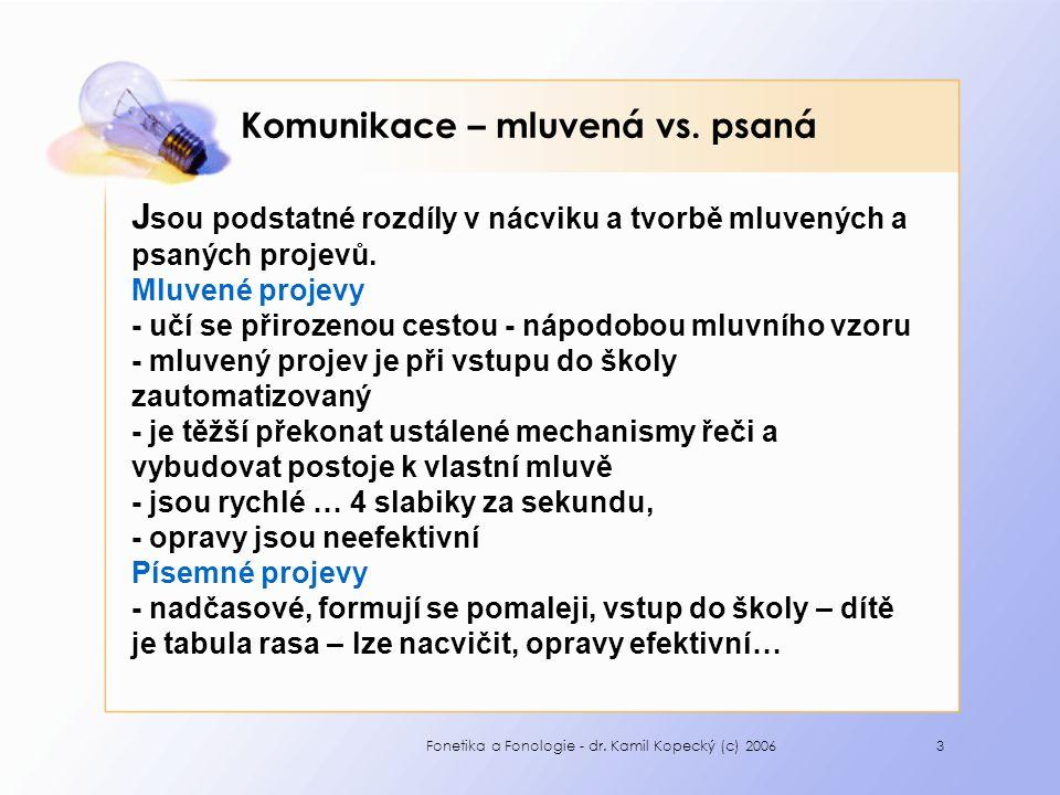 Fonetika a Fonologie - dr. Kamil Kopecký (c) 20063 Komunikace – mluvená vs. psaná J sou podstatné rozdíly v nácviku a tvorbě mluvených a psaných proje