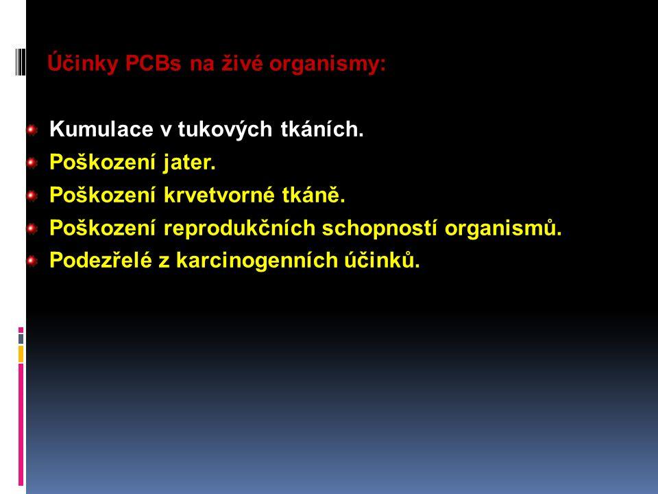 Účinky PCBs na živé organismy: Kumulace v tukových tkáních. Poškození jater. Poškození krvetvorné tkáně. Poškození reprodukčních schopností organismů.