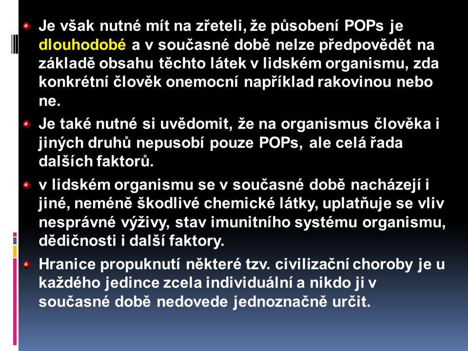 Je však nutné mít na zřeteli, že působení POPs je dlouhodobé a v současné době nelze předpovědět na základě obsahu těchto látek v lidském organismu, z