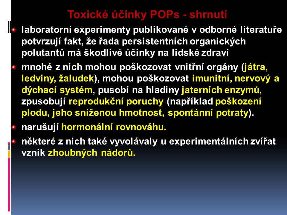 Toxické účinky POPs - shrnutí laboratorní experimenty publikované v odborné literatuře potvrzují fakt, že řada persistentních organických polutantů má