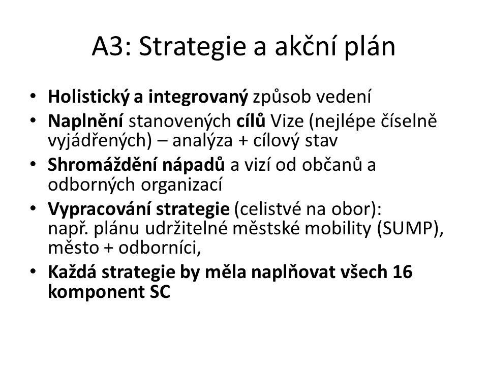 A3: Strategie a akční plán Holistický a integrovaný způsob vedení Naplnění stanovených cílů Vize (nejlépe číselně vyjádřených) – analýza + cílový stav