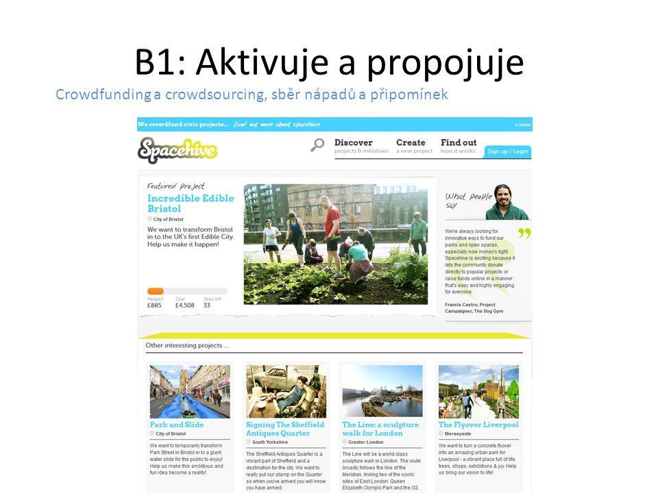 B1: Aktivuje a propojuje Crowdfunding a crowdsourcing, sběr nápadů a připomínek