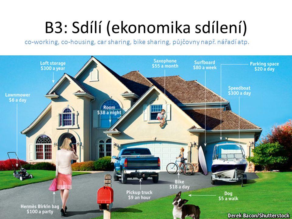 B3: Sdílí (ekonomika sdílení) co-working, co-housing, car sharing, bike sharing, půjčovny např. nářadí atp.