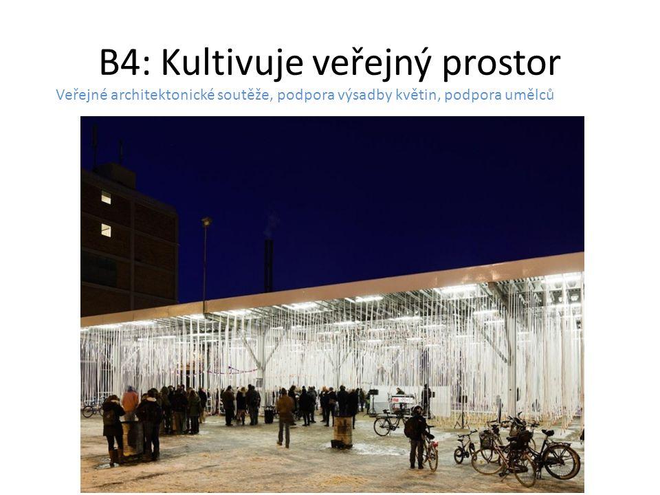 B4: Kultivuje veřejný prostor Veřejné architektonické soutěže, podpora výsadby květin, podpora umělců