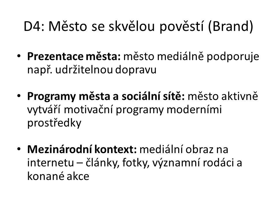 D4: Město se skvělou pověstí (Brand) Prezentace města: město mediálně podporuje např. udržitelnou dopravu Programy města a sociální sítě: město aktivn