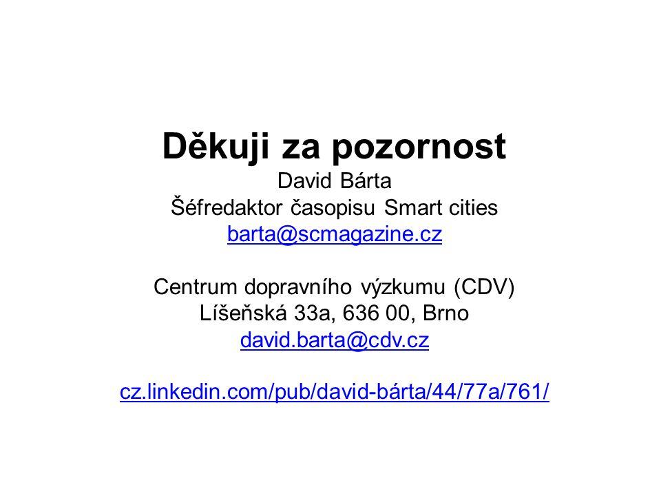 Děkuji za pozornost David Bárta Šéfredaktor časopisu Smart cities barta@scmagazine.cz Centrum dopravního výzkumu (CDV) Líšeňská 33a, 636 00, Brno davi