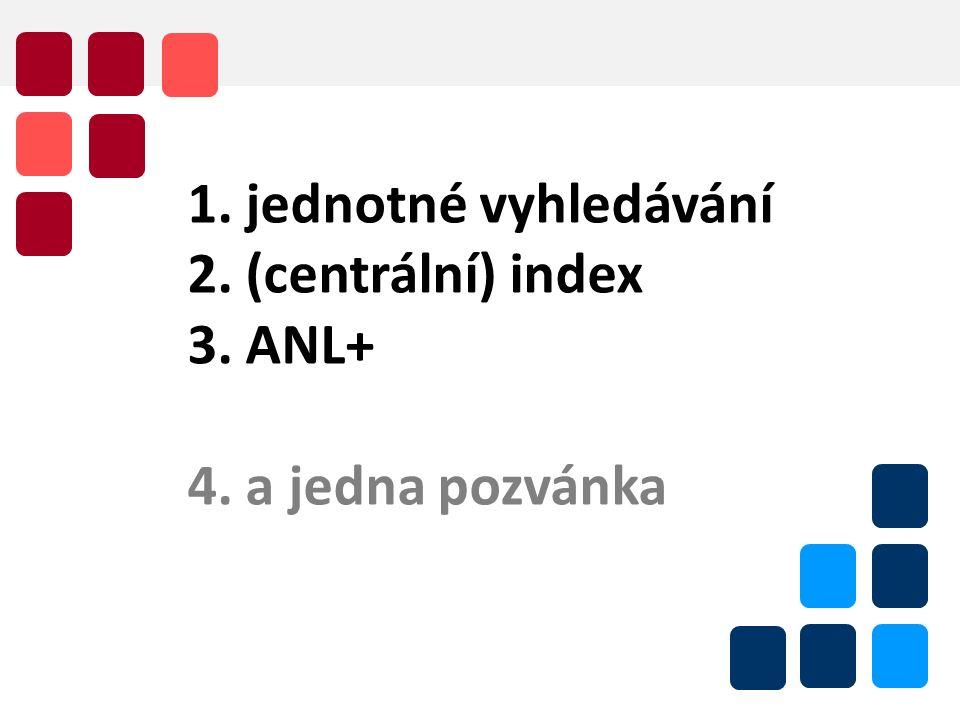 Bibliografie jako nezbytná součást jednotného vyhledávaní, 7.11. 2011 2 1. jednotné vyhledávání 2. (centrální) index 3. ANL+ 4. a jedna pozvánka