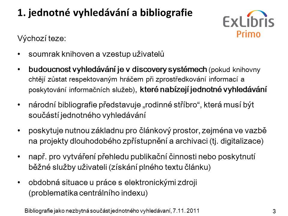 Bibliografie jako nezbytná součást jednotného vyhledávaní, 7.11. 2011 3 1. jednotné vyhledávání a bibliografie Výchozí teze: soumrak knihoven a vzestu