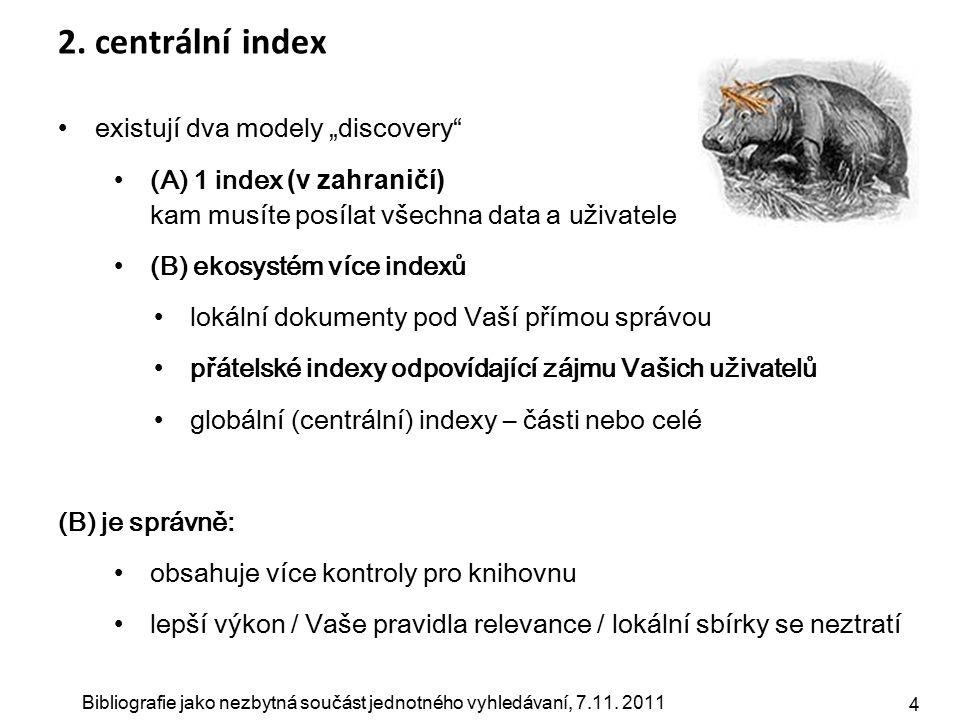 """Bibliografie jako nezbytná součást jednotného vyhledávaní, 7.11. 2011 4 2. centrální index existují dva modely """"discovery"""" (A) 1 index (v zahraničí) k"""