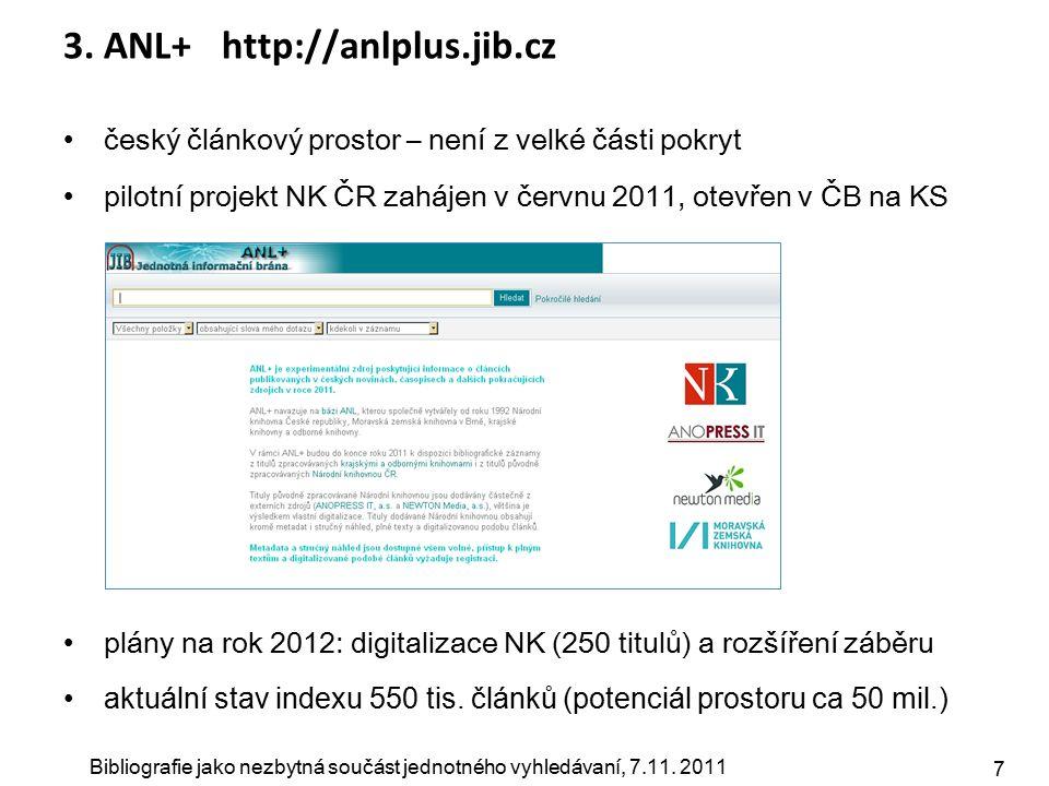 Bibliografie jako nezbytná součást jednotného vyhledávaní, 7.11. 2011 7 3. ANL+ http://anlplus.jib.cz český článkový prostor – není z velké části pokr