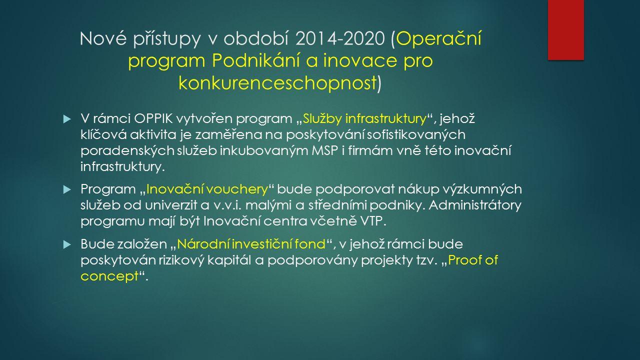 """Nové přístupy v období 2014-2020 (Operační program Podnikání a inovace pro konkurenceschopnost)  V rámci OPPIK vytvořen program """"Služby infrastruktury , jehož klíčová aktivita je zaměřena na poskytování sofistikovaných poradenských služeb inkubovaným MSP i firmám vně této inovační infrastruktury."""