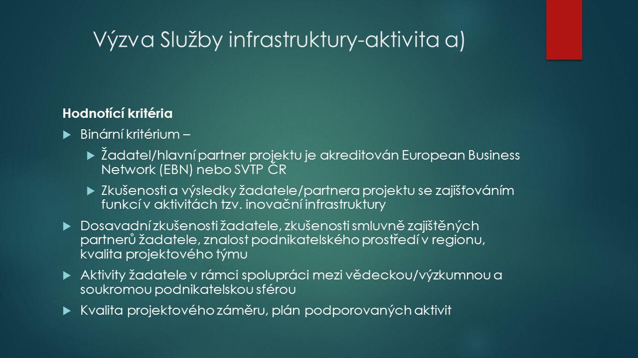 Výzva Služby infrastruktury-aktivita a) Hodnotící kritéria  Binární kritérium –  Žadatel/hlavní partner projektu je akreditován European Business Network (EBN) nebo SVTP ČR  Zkušenosti a výsledky žadatele/partnera projektu se zajišťováním funkcí v aktivitách tzv.