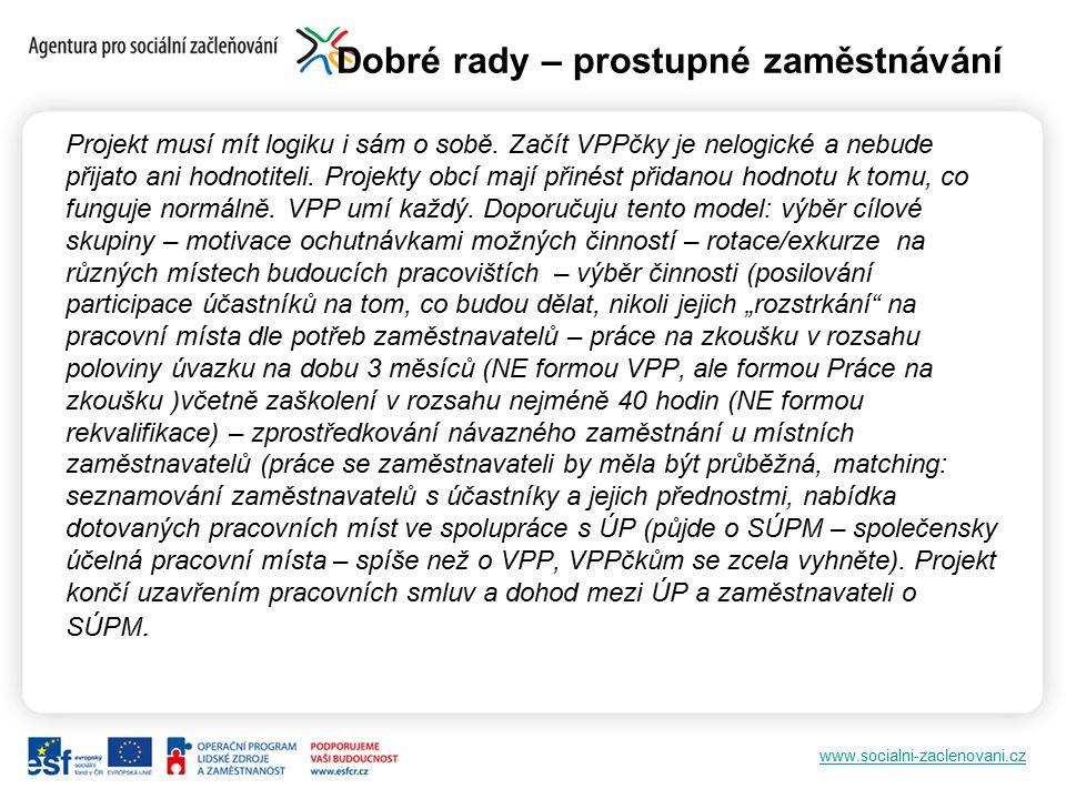 www.socialni-zaclenovani.cz Dobré rady – prostupné zaměstnávání Projekt musí mít logiku i sám o sobě. Začít VPPčky je nelogické a nebude přijato ani h
