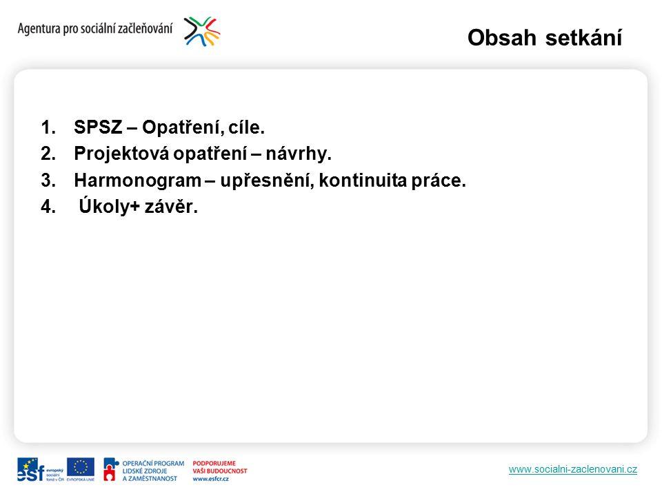 www.socialni-zaclenovani.cz Obsah setkání 1.SPSZ – Opatření, cíle.