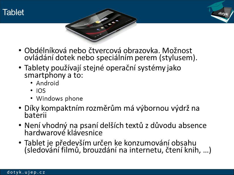 Tablet Obdélníková nebo čtvercová obrazovka.