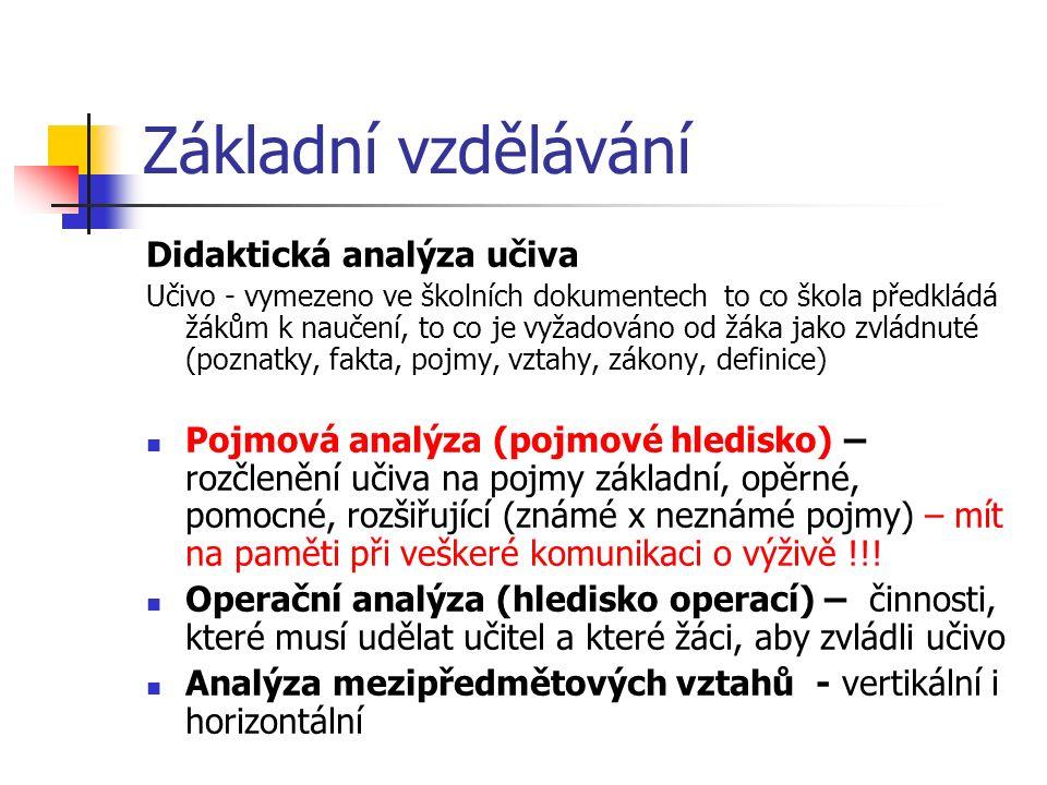 Základní vzdělávání Didaktická analýza učiva Učivo - vymezeno ve školních dokumentech to co škola předkládá žákům k naučení, to co je vyžadováno od žá