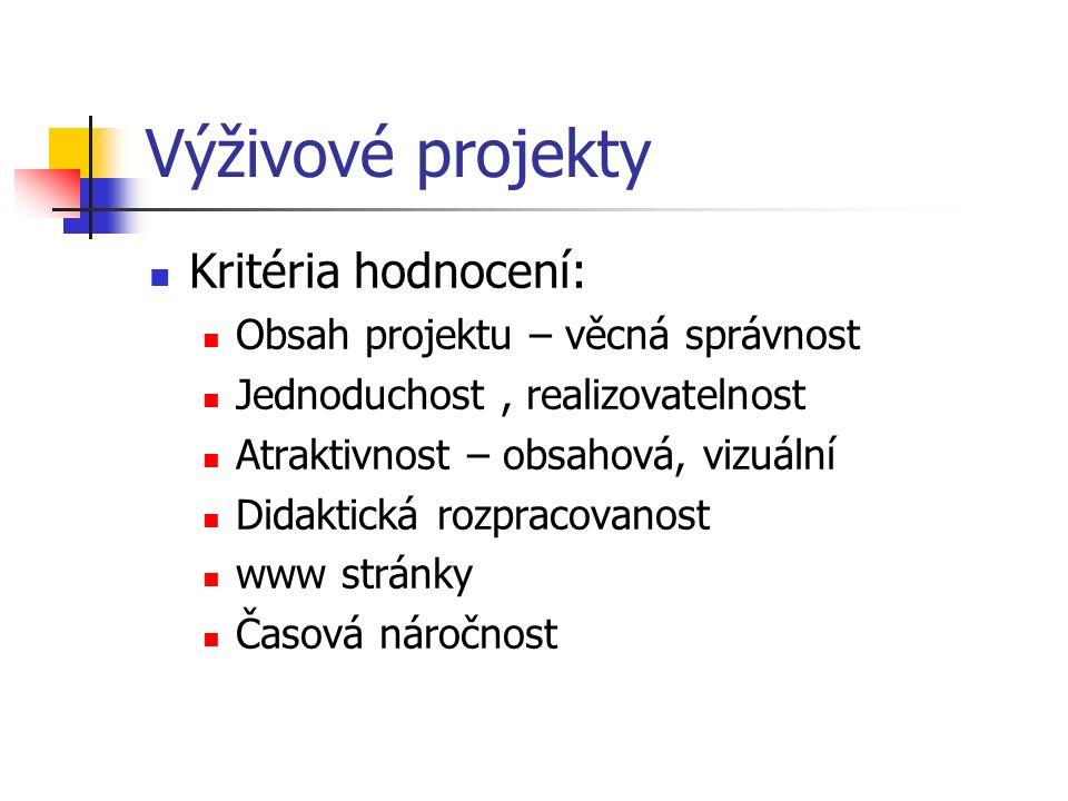 Výživové projekty Kritéria hodnocení: Obsah projektu – věcná správnost Jednoduchost, realizovatelnost Atraktivnost – obsahová, vizuální Didaktická roz