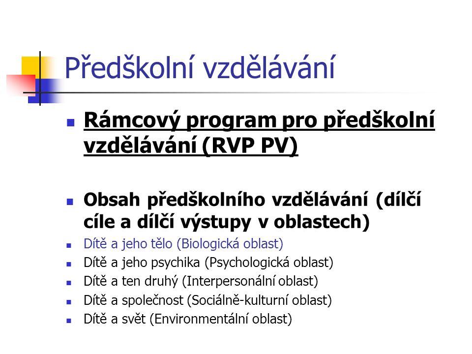 Předškolní vzdělávání Rámcový program pro předškolní vzdělávání (RVP PV) Obsah předškolního vzdělávání (dílčí cíle a dílčí výstupy v oblastech) Dítě a