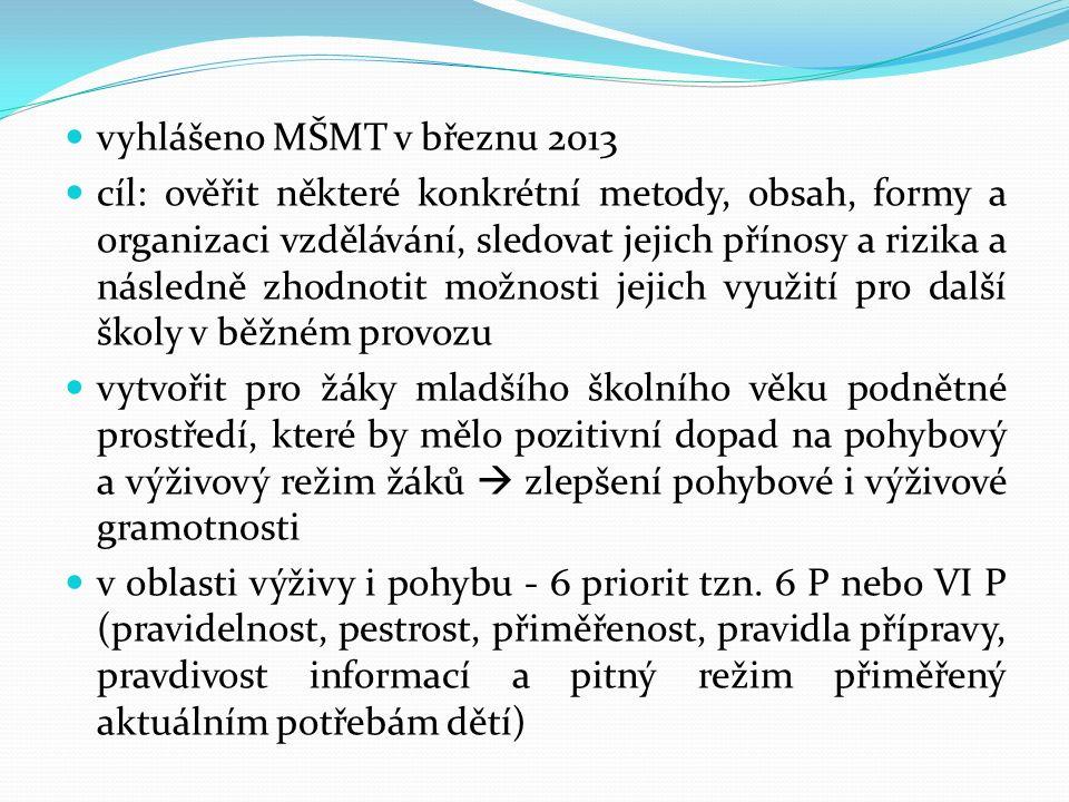 vyhlášeno MŠMT v březnu 2013 cíl: ověřit některé konkrétní metody, obsah, formy a organizaci vzdělávání, sledovat jejich přínosy a rizika a následně z