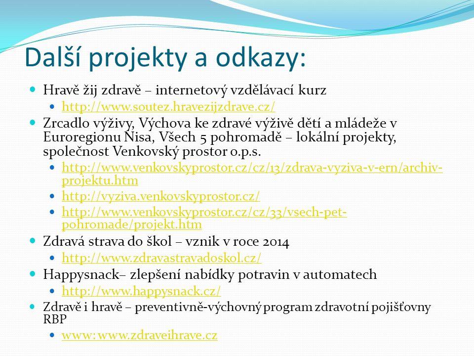 Další projekty a odkazy: Hravě žij zdravě – internetový vzdělávací kurz http://www.soutez.hravezijzdrave.cz/ Zrcadlo výživy, Výchova ke zdravé výživě